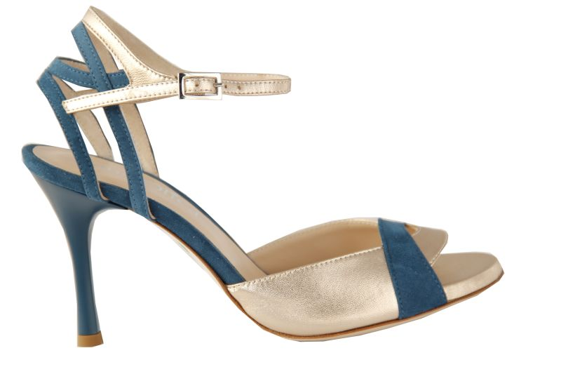 Lecce C - Chaussures de Tango Argentin - Tang'Olica - Cuir Platine - Daim Bleu Turquoise