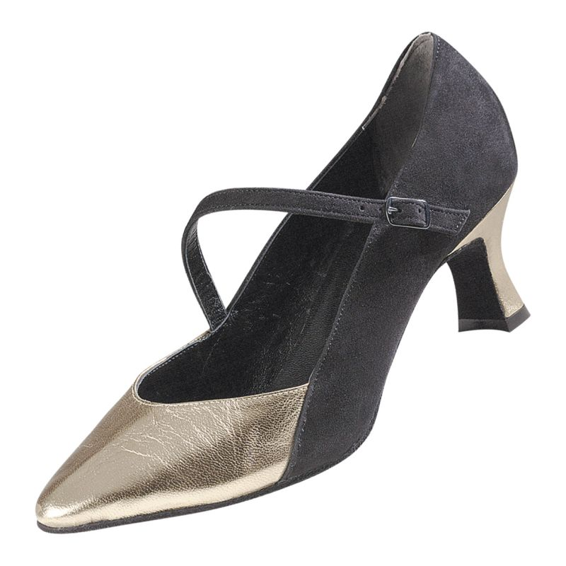 7055392dc7fe5e Cassandra - Chaussures Fermées Toutes Danses Magic Feet Daim Noir Cuir Or
