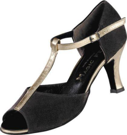5b219e7506d630 Adriana - Chaussures Toutes Danses - Danses Latines - Daim Noir Cuir Dorée